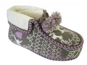 Ladies Granny Slippers - Brown/Purple
